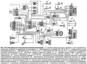 Электрическая схема системы световой сигнализации