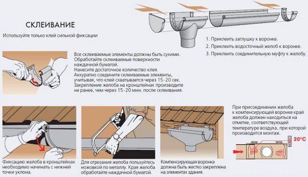 Монтаж водостоков методом склеивания