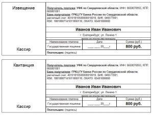 Образец квитанции по оплате государственной пошлины