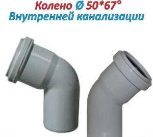 Параметры колена внутренней канализации