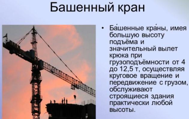 Понятие башенного крана