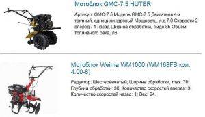 Примеры мотоблоков и их технические характеристики
