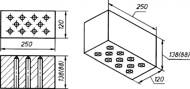 Размеры полуторного силикатного кирпича и двойного (в скобках)