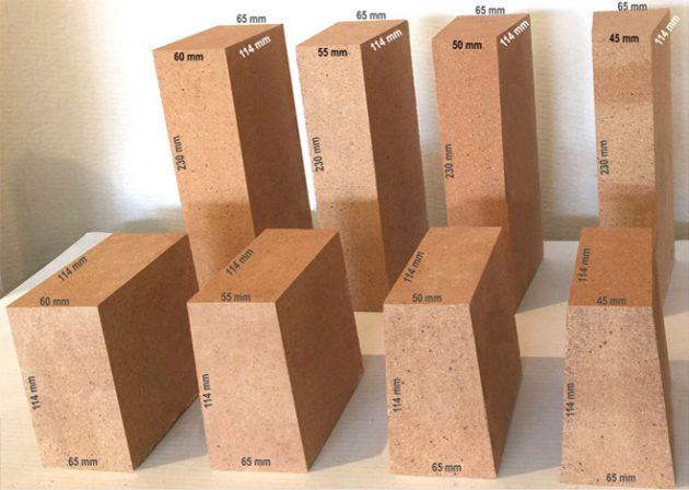Размеры различных видов шамотного кирпича