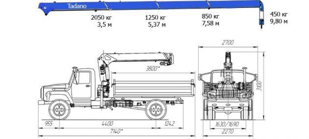 Самосвал ГАЗ 3309 с КМУ Tadano - размеры