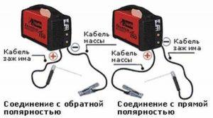 Схема подключения кабелей при прямой и обратной полярности