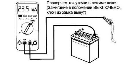 Схема проверки аккумулятора амперметром