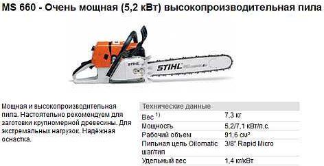 Технические характеристики Stihl MS-660