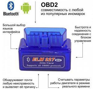Адаптер-сканер ELM327 OBD2 C Bluetooth Mini для компьютерной диагностики - характеристика