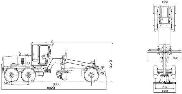Автогрейдер ГС-14.02 - размеры