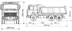Автомобиль МАЗ 551605 - размеры