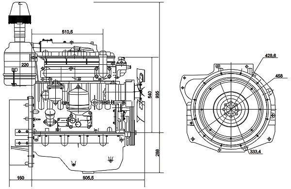 Габаритный чертеж двигателя Д-243