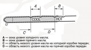 Характеристика щупа для замера масла в АКПП