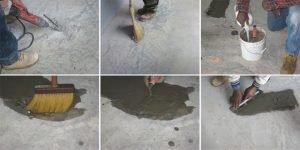 Использование ремонтного состава для ремонта бетонной стяжки