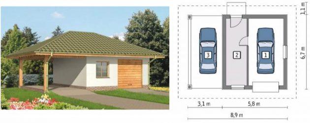 Проекты гаражей из пеноблоков на два авто