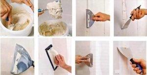 Процесс шпаклевки стены