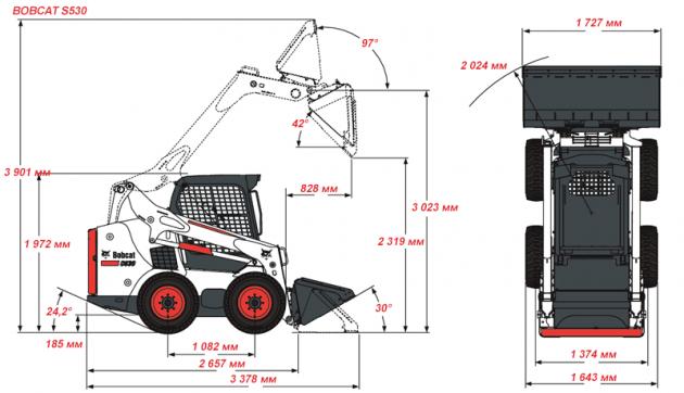 Размеры Bobcat S530