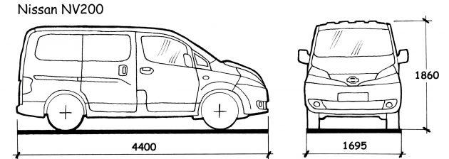 Размеры Nissan NV200
