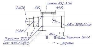 Схема кинематическая круглопильного универсального станка Ц6-2