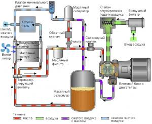 Схема рабочих элементов винтового компрессора