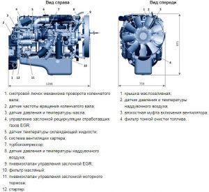Схема расположения узлов двигателя ЯМЗ-536