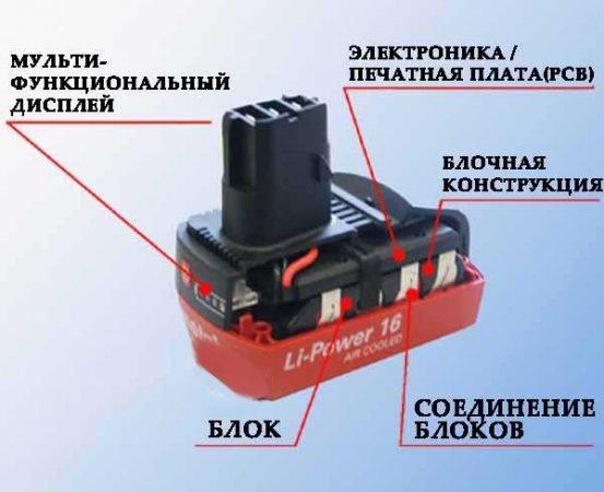 Схема устройства аккумулятора шуруповерта