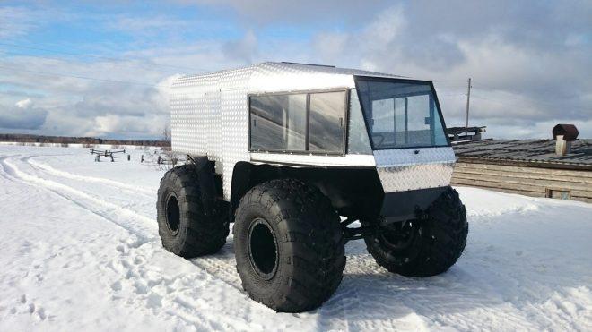 Снегоболотоход на колесах сверхнизкого давления