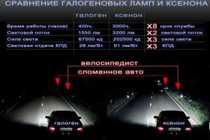 Сравнение галогеновых ламп и ксенона