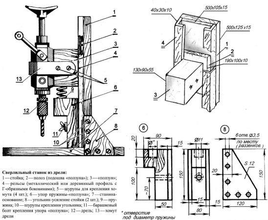 Сверлильный станок из дрели - устройство