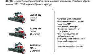 Технические характеристики комбайна Акрос 530