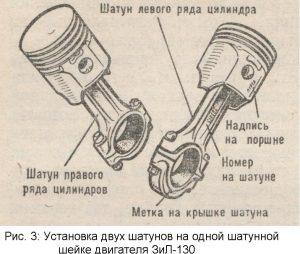 Установка двух шатунов на одной шатунной шейке двигателя ЗИЛ-130
