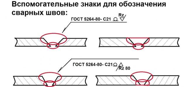 Вспомагательные знаки для обозначения сварных швов