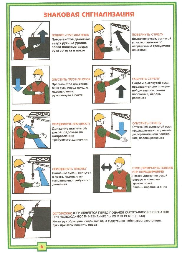 Знаковая сигнализация стропальщика