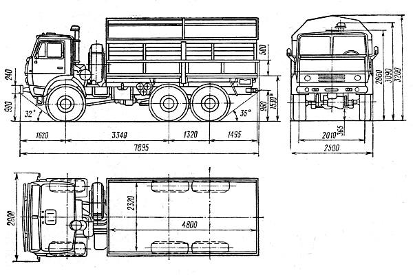 Габаритные размеры серийного КАМАЗ-43101 (1989 - 1995)