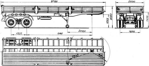 Полуприцеп ОдАЗ-9370 - габариты