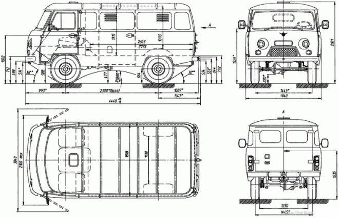 Размеры УАЗ-3741