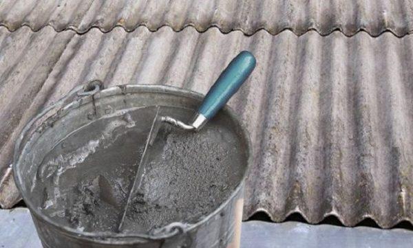 Ремонт шифера цементной смесью